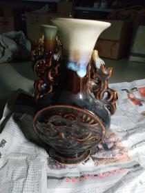 老钧瓷厂圆月龙耳花瓶