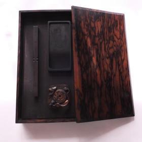 清早期日本贵族黑柿木质砚盒铜制水滴镇纸书画书法套盒 N870