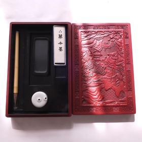 日本传统工艺老漆器砚盒笔砚水滴墨书画书法精美套盒N872