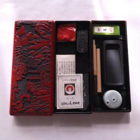 日本传统工艺老漆器砚盒笔砚水滴墨印泥书画书法精美两层套盒N873