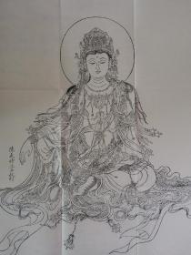 水月观音像 宣纸雕版刷印 弘化社恭印 尺寸69*69cm