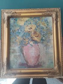 老油画,瓶花