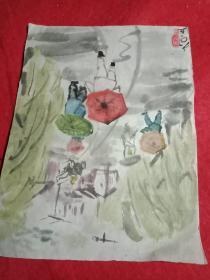 老画家周〇1960年宣纸原画:《雨纷纷》(此为原作,其尺寸大小为:宽15厘米,高20厘米)