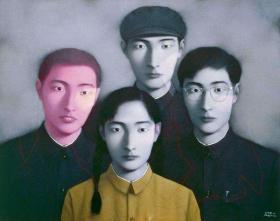 张晓刚签名限量彩色数码版画《血缘:大家庭2号》(作者签名,店家永久保真。)
