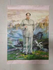 一开(人民的领袖毛泽东)原版老年画!尺寸长108厘米,宽76厘米,毛主席诞辰一百周年时期