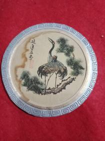 绢画《延年益寿》(此为彩印绢画,呈圆形,其尺寸大小为:直径10厘米)