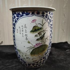 老瓷器,晚清民国青花开窗粉彩花鸟画缸,卷缸一件。名家作品,大尺寸,看图.