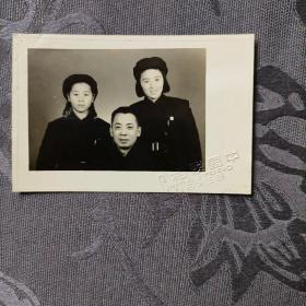 老照片 父女1951年1月 镇江中国照相