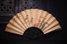 檀木手绘纸花鸟折扇