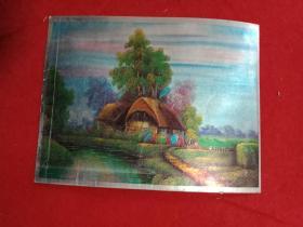 彩色金箔画:《水岸民居》之二(此画宽20厘米,高15厘米;景色优美,风光宜人,如临其境,值得收藏)