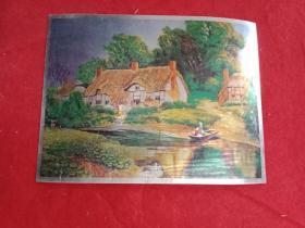 彩色金箔画:《水岸民居》之一(此画宽20厘米,高15厘米;景色优美,风光宜人,鲜活生动,值得收藏)