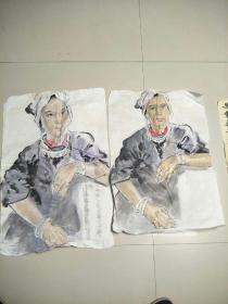 国画人物2张合售(保手绘)