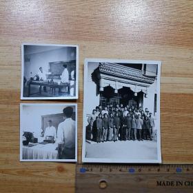 解放初50年代 苏联援助中国的运动生理专家:吉潘莱特尔 与北京体育学院学生合影,及教学照片。