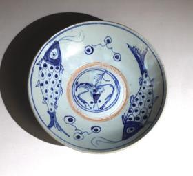 青花双鱼、虾纹盘