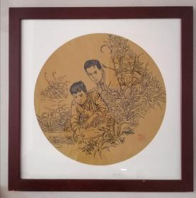 方增先,上海美术馆馆长、中国美术学院荣誉教授、上海市美术家协会主席、中国国家画院中国画院院长。浙江浦江人,保真手绘作品,画框67厘米,画芯49厘米,画框协商