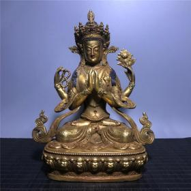 铜镶嵌宝石鎏金四臂佛像