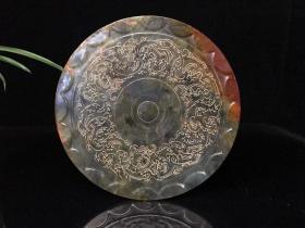 清代 高古玉玉镜,纯手工雕刻,刻工精美,玉质通透 手感细腻 滑润 包浆浓厚 磨损自然 品相完整 包老包真