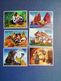 外国邮票  马尔代夫1996年 迪士尼卡通  6全(无邮戳新票)