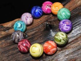 【美品】回流 晚清民国时期 多彩 贺天 手串 颗颗玉化 花色一等 美艳至极 单珠直径20MM