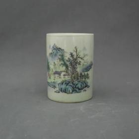 山水纹笔筒 景德镇文房陶瓷器