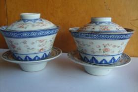 瓷器    玲珑瓷    青花矾红龙纹描金    茶盏一对