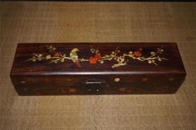 花梨木镶嵌贝壳喜上眉梢扇子盒2