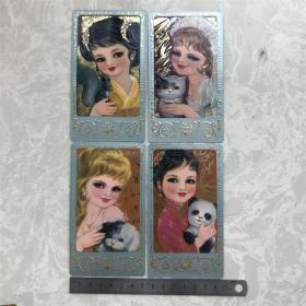 1980老年历日历怀旧生日礼物贺卡片明信片4张套