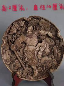 玉石雕刻精美钟馗像圆盘一件