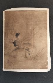 日本回流字画版画狩野常信芦雁图 D1961