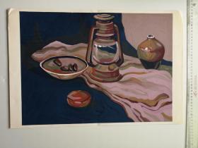 美院流出的大幅手绘水粉画稿原稿《静物-马灯陶罐》