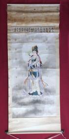 书画9457工笔重彩人物画,观音,卷轴