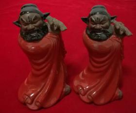 紫砂挂釉—安徽灵璧钟馗酒业有限公司钟馗酒瓶,2个合售