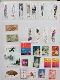 T44.齐白石邮票共11枚新票,J105.70.等各种邮票共28枚。