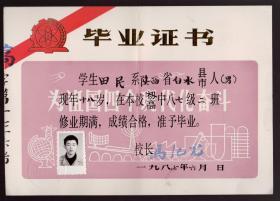 上海交通大学教授 1987年毕业证书