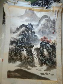 南京著名老画家陶陆石先生精美山水画《幽谷鸣泉》
