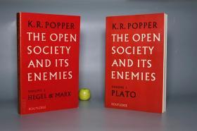【英文原版】《波普尔:开放社会及其敌人》(全2册)1973年老版 私藏品好※ [《The Open Society and Its Enemies》西文学术名著- 西方哲学思想史 政治社会学 研究文献:柏拉图(Volume 1 Plato)、黑格尔 马克思主义(2 Hegel & Marx) 资本主义 社会主义 乌托邦 第一卷 第二卷]