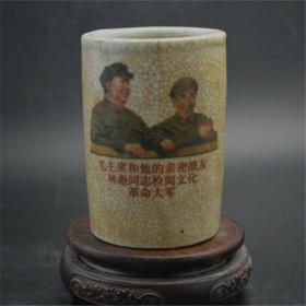 文革瓷红色收藏毛主席林彪像笔筒