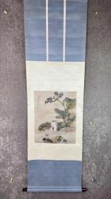 文物公司旧藏 清代著名画家 江苏高淳京人 杨原 花鸟 纸本立轴 原装旧裱 带原签