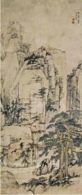 高清复制名家字画  清 弘仁 松溪石壁图50x118厘米