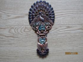 一柄古老的凤凰纹景泰蓝折叠镜子[上有英文西内斯尔字样]