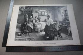 【百元包邮】木刻版画《schweres entschlissen艰难的决定》十九世纪   带卡纸装裱  卡纸尺寸见标尺 (PM01803)