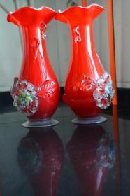 大红琉璃花瓶【一对】