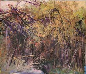 著名油画家、湖北美术学院教授崔哲民水粉画《刺丛》。
