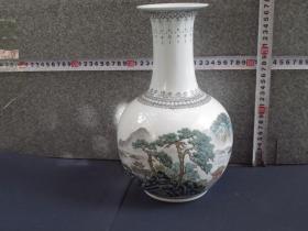出口创汇期精品:景德镇制手绘山水天球瓶