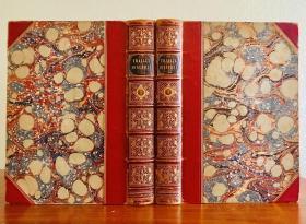 1851年,弗拉维夫 约瑟夫斯《犹太战争》2册全。大理石花纹外封,全皮烫金竹节书脊包角,三口刷金,75幅全页精致版画,17.5x25.5cm 。