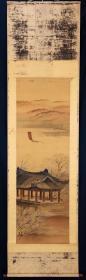 日本名家绘画,有声款《山水》,名头自查,绢本纸裱,非常老,老竹轴头,画芯尺寸131*42