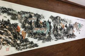 【保真】收藏重器-当代黄宾虹书画院教授、实力派画家张跃武3.3米巨幅山水长卷:秋山论道图