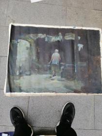 老油画,背影,题村好,有点意思,应该是名家作品。