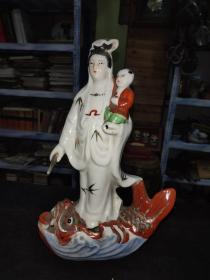 70-80年代,景德镇雕塑瓷厂,鳌鱼观音送子像