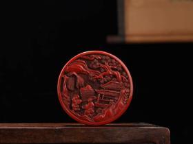 收藏剔红漆器人物故事盒 首饰盒一件直径10厘米